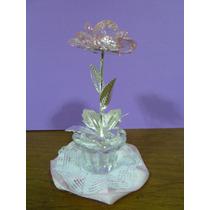 Souvenir Flor Con Tallo Y Hojas En Metal, Caja Pvc Incl