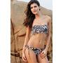 Bikini Importada Con Taza Soft Y Flecos - Cebra