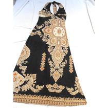 Delicado Vestido Largo En Seda Fría Lindo Escote Nuevo Tal S