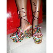 Sandalias Artesanales Con Plataformas-altas 15cm A Pedido