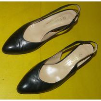 Zapato Dama Cuero Negro Ferraro Nº 37 Con 2 Moños Taco De 8