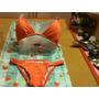 Bikini En Dos Piezas En Color Naranja En Lycra Con Labra