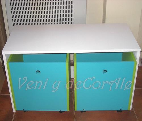 Mesa con 2 cubos con ruedas guardajuguetes baules - Baules con ruedas ...