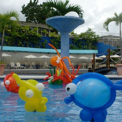 Decoracion con globos para pileta exteriores fuentes 50 for Pulpo para piscina