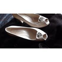Zapatos Cuero Con Plataforma Color Crema Lujo 39 $390
