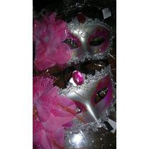 Mascara Veneciana Con Una Flor, Brillos Y Piedras De Calidad