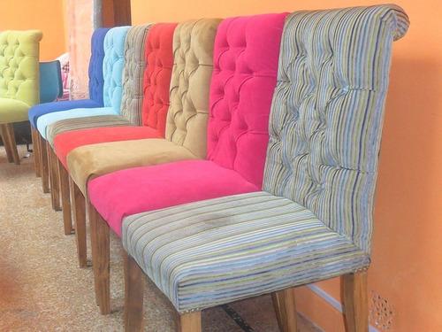sillas estilo capitone moderna tapizadas comedor