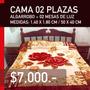Cama Dos Plazas + 02 Mesas De Luz Algarrobo