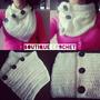 Cuello / Bufanda De Lana Tejido Al Crochet Con 3 Botones