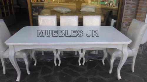 Mesa De Comedor Estilo Provenzal Blanco Viejo + 8 Sillas - $ 27900 ...
