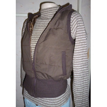 Chaleco Impermeable Chocolate T3 Bolsillos Pie Y Cuello Lana