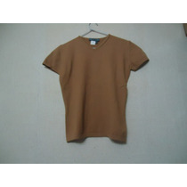 Remera Zara Tejida Mangas Cortas Color Marron Talle M