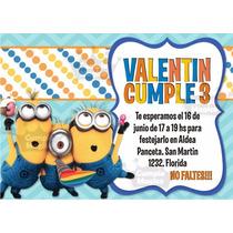 Minions Tarjeta Cumpleaños Invitaciones Personalizadas X 10