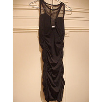 Vestido Noche Negro- Drapeado Corsage Transparente S/ Mangas