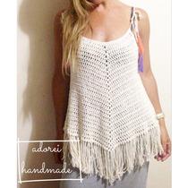 Musculosa Top Con Flecos Tejido Al Crochet