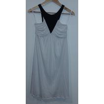 Vestido Blanco Con Detalle En V Negro Chocolate Talle S