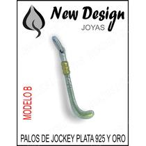 Dije Palo De Jokey De Plata 925 Y Oro, Se Puede Grabar Atras