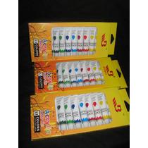 3 Cajas X12 Pomos De 12 Ml De Oleos De Colores