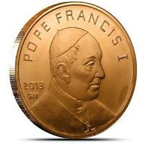 Moneda De 1 Onza De Cobre Puro Papa Francisco I J. Bergoglio