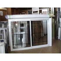 Ventana De Aluminio Blanco Con Reja Vidrio Cortina 1.50x1.10