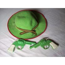 Set De Cowboy - 2 Revolveres + Sombrero - Juguete Retro