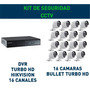 Kit Cctv Dvr 16 Ch 16 Cámaras Hd C/ Fuente Hikvision Oferta!