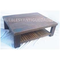 Mesa Ratona De Pinotea Antigua Con Estante Revistero Deck