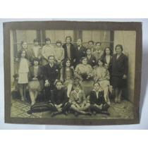 Antigua Foto Fotografia Familiar Ramo Niños Peinados Vestido