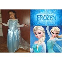 Disfraz Vestido Elsa - Frozen + Corona De Regalo