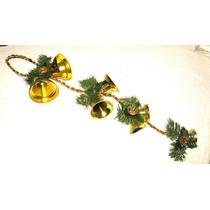 Navidad Adorno Colgante 7 Campanas Doradas Con Piñas