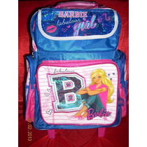 Mochila Barbie Carro Ruedas Escolar Original