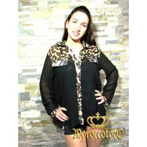 Blusa Camisa Gasa Negra Animal Print Leopard