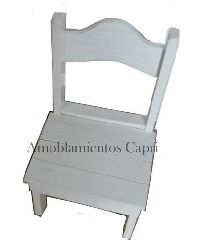 Mesita 2 sillas para chicos infantil pintadas en blanco for Sillas para chicos