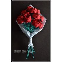 Día De Los Enamorados Regalo 12 Rosas Rojas De Papel Origami