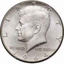 Moneda De Plata Kennedy Half Dollar 1964 !