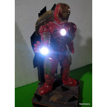 Iron Man Luces Led Vengadores Adorno Para Torta