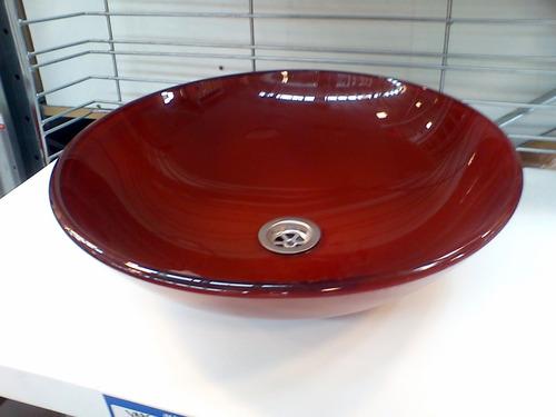 Bachas Para Baño Roja:bacha de vidrio transparente de apoyo 42cm roja naffull bacha de