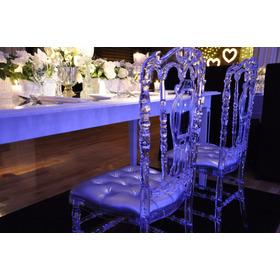 Silla Royal Cristal  Tiffany Almohadon Capitone Con Cristal