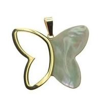 Dije Colgante Mariposa Combinada Con Nacar Acero Gp8228-g