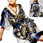 Kimono De Raso Azul Marino Con Hermoso Estampado - Importado