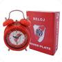 Set Reloj Despertador Y Llavero Escudo Giratorio River Plate