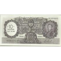 Billete 1000 Pesos Moneda Nacional Resellado 10 Pesos Ley