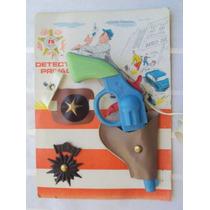 Detective Privado Arma Azul Cinturon Placa Juguete Antiguo