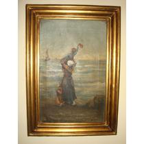 Pintura Antigua, Madre Con Niños, Oleo Sobre Tela, 60x40cm.