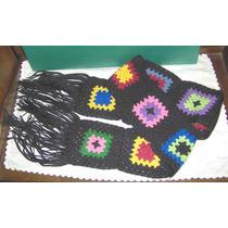 Bufanda Retro Tejida Al Crochet Con 10 Cuadrados Fondo Negro