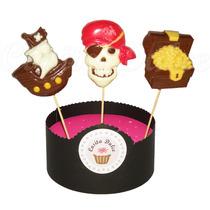 10 Chupetines De Chocolate Piratas Barco Calavera Exclusivos