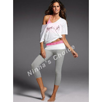 Yoga Pants Gris-blanco-fucsia -m- Victoria's Secret
