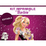 Kit Imprimible Editable Barbie, Candy Bar, Golosina, Sticker