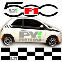 Kit Calcos Fiat 500 Franjas F1 - Excelencia En Ploteos!