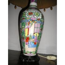 1465-excelente Lampara De Mesa Porcelana Canton Con Pantalla